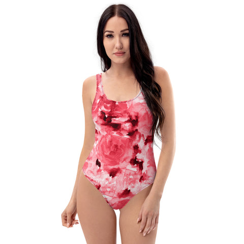 Red Abstract Women's Swimwear, Floral Print One-Piece Swimsuit-Heidi Kimura Art LLC-XS-Heidi Kimura Art LLC Red Abstract Women's Swimwear, Floral Rose Flower Print Luxury 1-Piece Swimwear Bathing Suits, Beach Wear - Made in USA/EU (US Size: XS-3XL) Plus Size Available