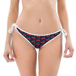 Red Cherries Bikini Bottom, Navy Blue 1-pc Premium Quality Luxury Floral Print Bikini Bottom Women's 1 pc Swimsuit - Made in USA/ Europe (US Size: XS-3XL)