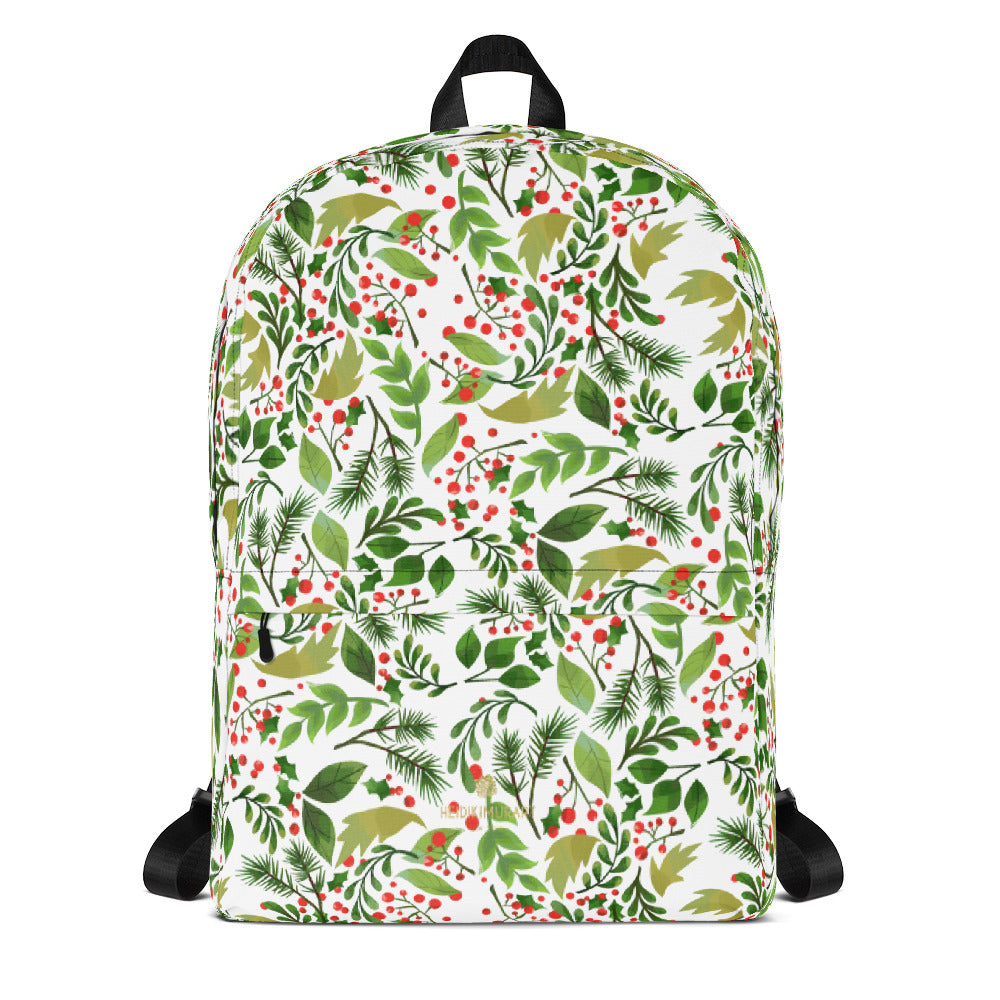 Christmas Floral White Black With Berries Print Water Resistant Backpack- Made in USA/ EU-Backpack-Heidi Kimura Art LLC