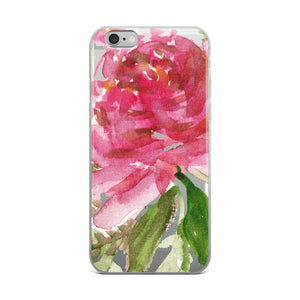 Happiness Clear Floral Girlie Pink, iPhone X | XS | XR | XS Max | 8 | 8+ | 7| 7+ |6/6S | 6+/6S+ Case- Made in USA-Phone Case-iPhone 6 Plus/6s Plus-Heidi Kimura Art LLC
