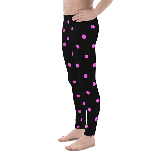 Pink Black Cute Polka Dots Print Men's Leggings Compression Tights-Made in USA/EU-Men's Leggings-Heidi Kimura Art LLC