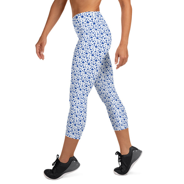 White Blue Stars Print Women's Yoga Capri Mid-Calf Leggings Pants- Made in USA/EU-Capri Yoga Pants-Heidi Kimura Art LLC