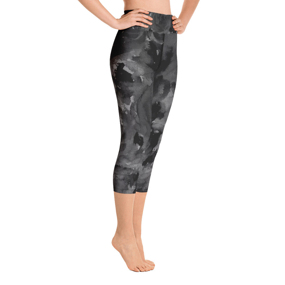 Black Gray Rose Floral Print Capri Leggings Women's Yoga Pants- Made in USA - Heidi Kimura Art LLC