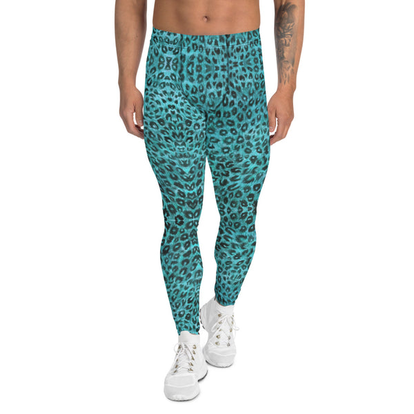 Light Blue Leopard Men's Leggings, Animal Print Meggings Compression Tights-Made in USA/EU-Heidikimurart Limited -XS-Heidi Kimura Art LLC Light Blue Leopard Meggings, Leopard Print Men's Leggings, Animal Print Leopard Modern Meggings, Men's Leggings Tights Pants - Made in USA/EU (US Size: XS-3XL) Sexy Meggings Men's Workout Gym Tights Leggings