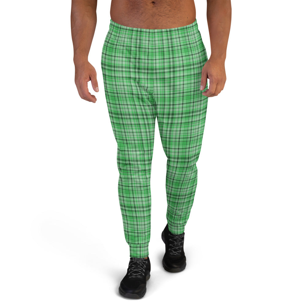 Green Plaid Tartan Print Premium Quality Men's Joggers Sweatpants- Made in EU-Men's Joggers-XS-Heidi Kimura Art LLC Green Plaid Men's Joggers, Classic Green Plaid Tartan Print Designer Ultra Soft & Comfortable Men's Joggers, Men's Jogger Pants-Made in EU (US Size: XS-3XL)