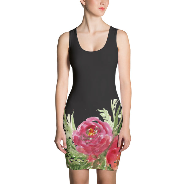 Red Rose Flower Black Floral Print Women's Sleeveless Designer Dress - Made in USA/EU-Women's Sleeveless Dress-XS-Heidi Kimura Art LLC