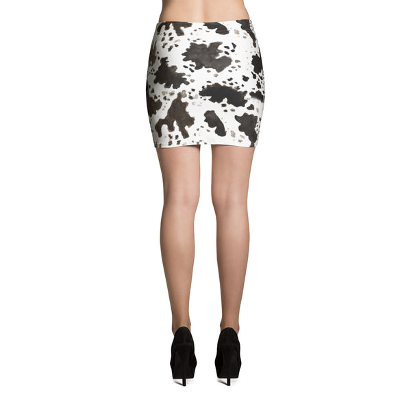 Cow Print Women's Stretchy Soft Mid-Thigh Length Microfiber Mini Skirt, Made in USA-Mini Skirt-Heidi Kimura Art LLC