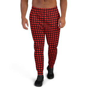 Buffalo Red Plaid Print Premium Best Men's Joggers Casual Sweatpants - Made in EU-Men's Joggers-XS-Heidi Kimura Art LLC