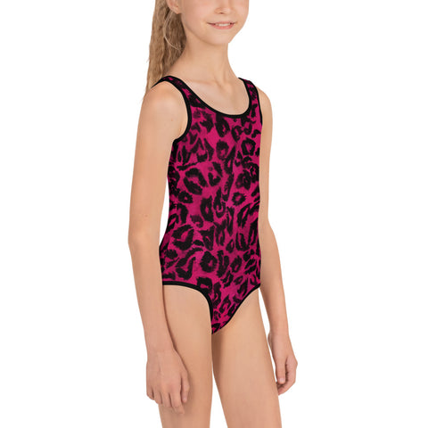 Pink Leopard Print Girl's Swimsuit, Animal Print Cute Kids Bathing Suit- Made in USA/EU-Kid's Swimsuit (Girls)-Heidi Kimura Art LLC