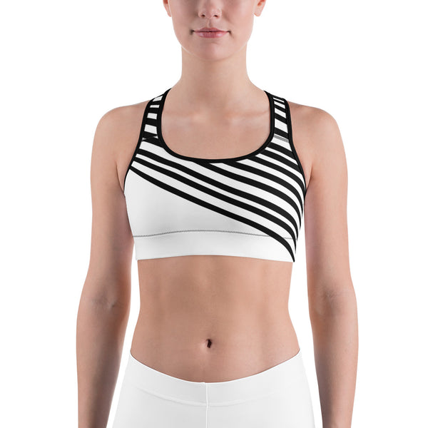 Classic White Black Diagonal Stripe Print Women's Sports Fitness Bra-Made in USA/EU-Sports Bras-Black-XS-Heidi Kimura Art LLC Black Striped Women's Sports Bra, Classic White and  Black Diagonal Stripe Premium Quality Luxury Elastic Polyester Spandex Women's Sports Fitness Bra - Made in USA/EU (US Size: XS-2XL)