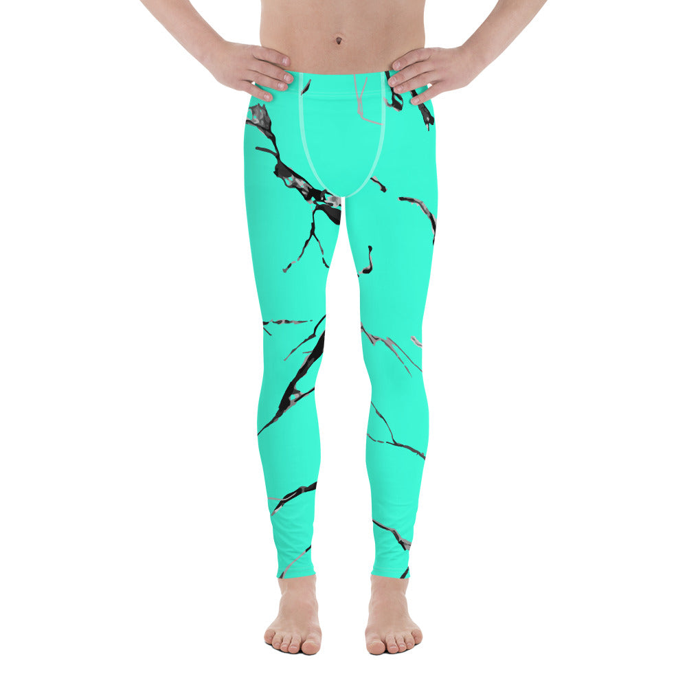 Turquoise Blue Marble Sexy Neon Clothing Print Sexy Meggings- Made in USA/ EU-Men's Leggings-XS-Heidi Kimura Art LLC