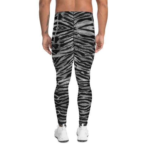 Grey Tiger Stripe Men's Leggings, Animal Print Meggings Compression Tights-Made in USA/EU-Heidi Kimura Art LLC-Heidi Kimura Art LLC Grey Tiger Stripe Men's Leggings, Tiger Animal Print Sexy Meggings Men's Workout Gym Tights Leggings, Men's Compression Tights Pants - Made in USA/ EU (US Size: XS-3XL)