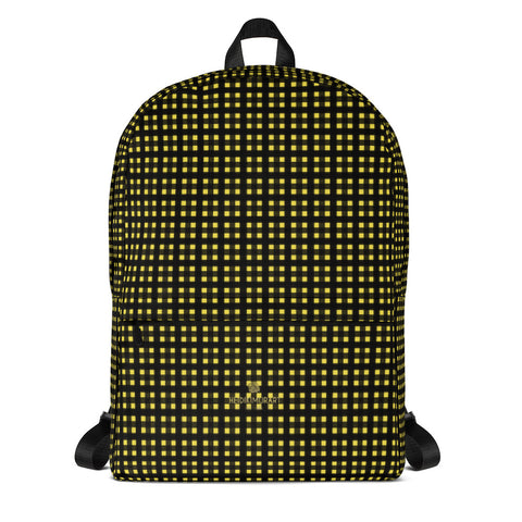 Yellow Buffalo Plaid Print Designer Premium Laptop/ Travel/ School Backpack- Made in USA/EU-Backpack-Heidi Kimura Art LLC