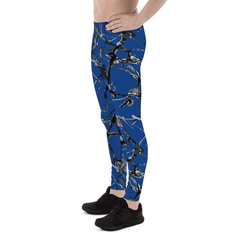 Blue Marble Abstract Print Meggings, Premium Men's Leggings Gym Tights - Made in USA/EU-Men's Leggings-Heidi Kimura Art LLC