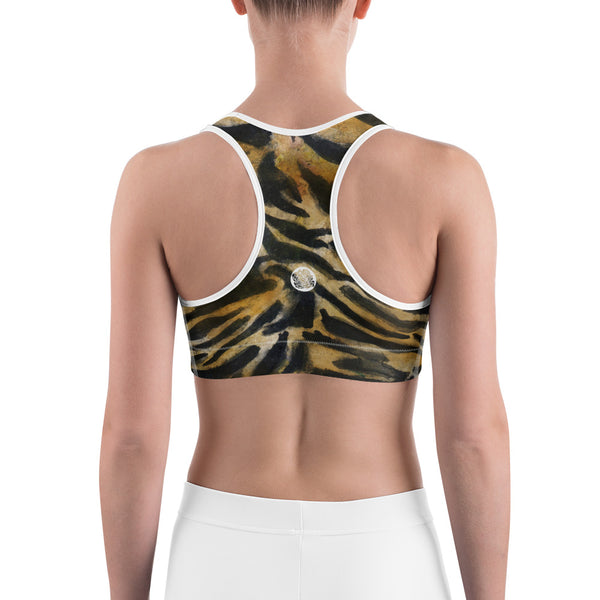 Tiger Stripe Brown Animal Print Women's Yoga Bra-Made in USA (US Size: XS-2XL)-Sports Bras-Heidi Kimura Art LLC Tiger Stripe Sports Bra, Tiger Stripe Brown Animal Print Women's Unpadded Sports Workout Fitness Yoga Bra - Made in USA/EU (US Size: XS-2XL)