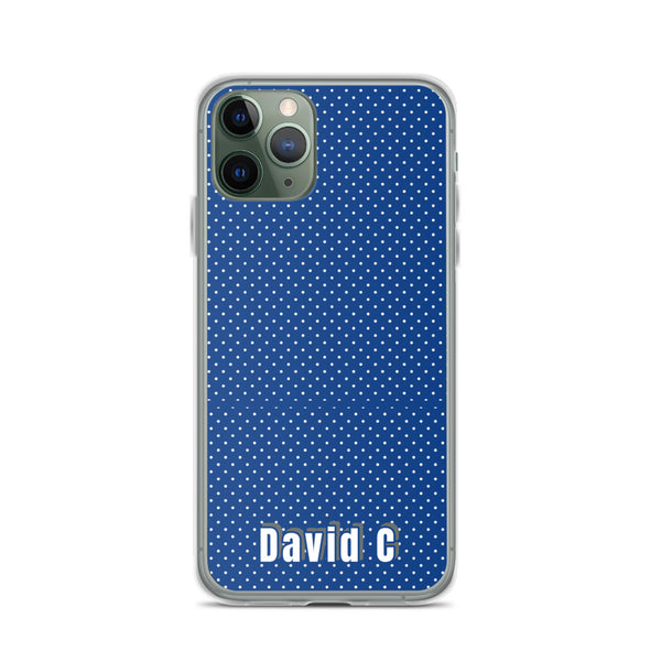Blue Polka Dots Print Custom Names iPhone Case-Made in USA-Phone Case-iPhone 11 Pro-Heidi Kimura Art LLC