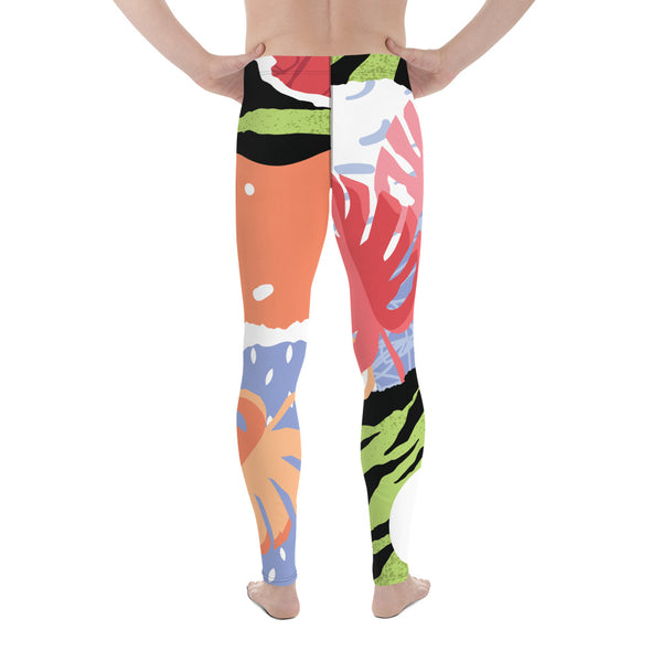 Green Tiger Stripe Tropical Leaf Print Summer Men's Leggings Tights Pants- Made in USA/EU-Men's Leggings-Heidi Kimura Art LLC