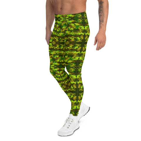 Green Camo Men's Leggings-Heidikimurart Limited -Heidi Kimura Art LLC Green Camo Print Meggings, Camouflage Military Green Army Print Men's Yoga Pants Running Leggings & Fetish Tights/ Rave Party Costume Meggings, Compression Pants- Made in USA/ Europe/ MX (US Size: XS-3XL)