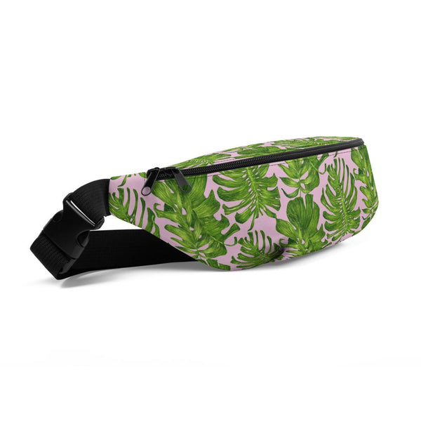 Light Pink Green Tropical Leaf Print Waist Belt Bag Fanny Pack Belt Bag- Made in USA/EU-Fanny Pack-Heidi Kimura Art LLC