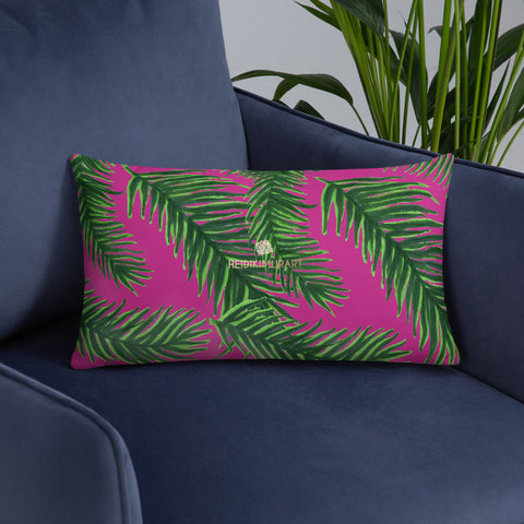 "Green Deep Pink Tropical Palm Leaf Print 20""x12"", 18""x18"" Basic Pillow Case - Made in USA-Pillow-Heidi Kimura Art LLC"