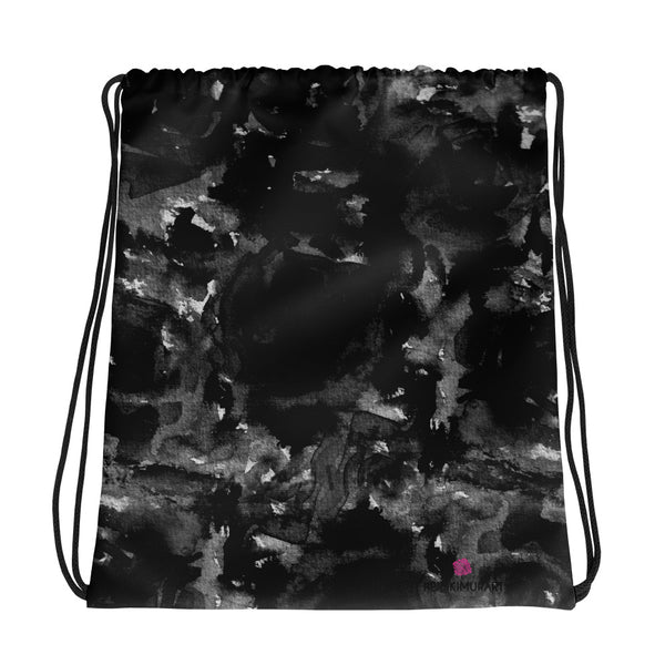 "Mana Black Zombie Rose Floral Print Women's 15""x17"" Drawstring Bag-Made in USA/Europe - Heidi Kimura Art LLC"