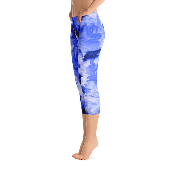 Ocean Blue Rose Floral Print Capri Leggings Activewear - Made in USA (US Size: XS-XL)-capri leggings-Heidi Kimura Art LLC