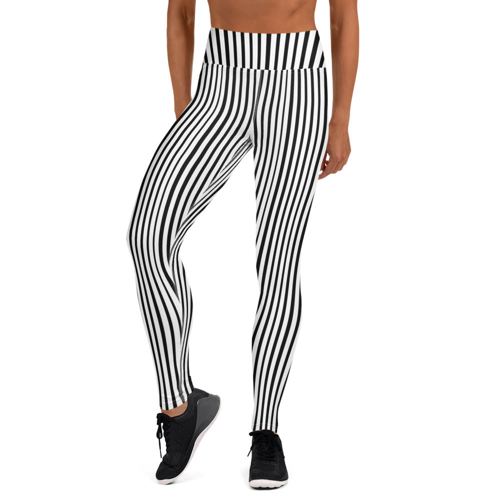 Black White Vertical Stripes Women's Long Stretchy Yoga Leggings Pants- Made in USA/EU-Leggings-XS-Heidi Kimura Art LLC Black Vertical Stripes Women's Leggings, Black White Vertical Stripes Print Premium Women's Active Wear Fitted Leggings Sports Long Yoga & Barre Pants, Sportswear, Gym Clothes, Workout Pants - Made in USA/ EU (US Size: XS-XL)