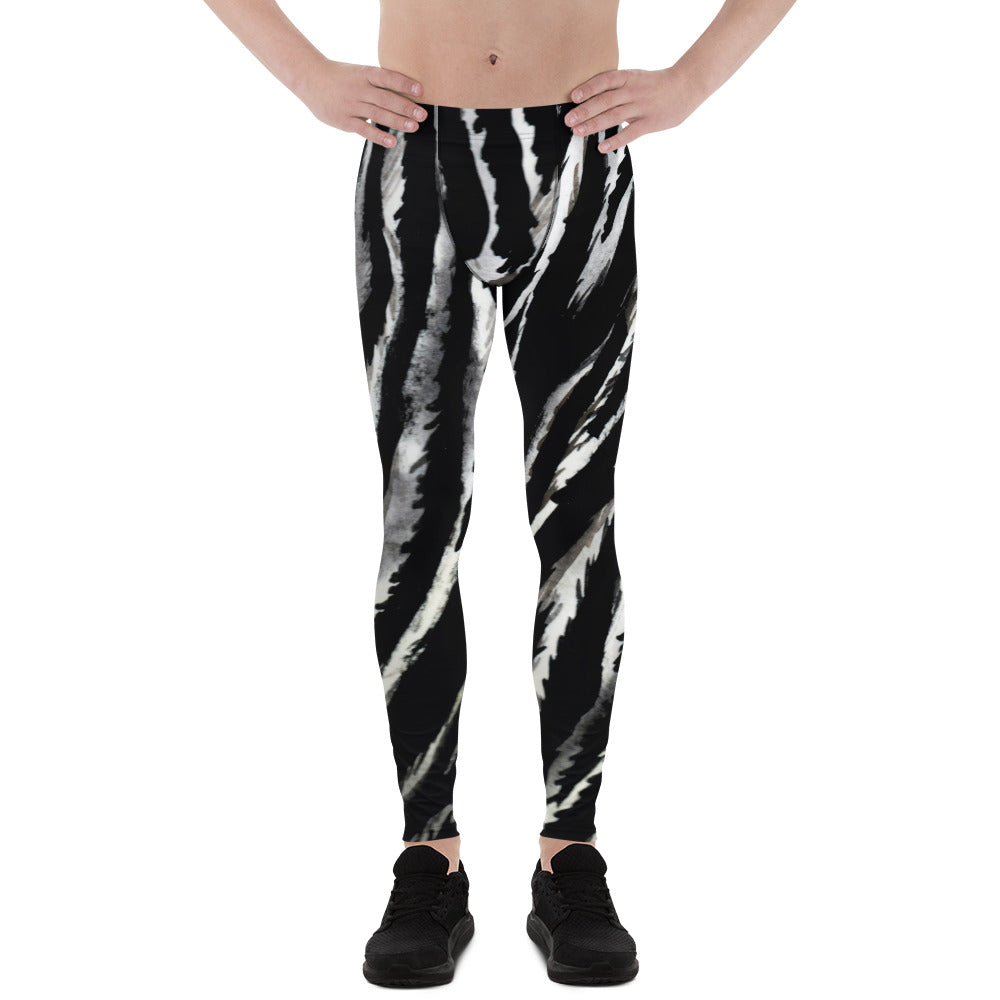 Gray Zebra Stripe Black White Animal Print Men's Leggings Tights Pants-Made in USA/EU-Men's Leggings-XS-Heidi Kimura Art LLC  Zebra Stripe Men's Leggings, Gray Zebra Stripe Black White Animal Print Men's Leggings Tights Pants - Made in USA/ Europe (US Size: XS-3XL) Made to Order Sexy Meggings Men's Workout Gym Tights Leggings