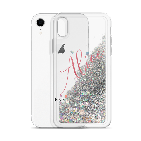 Pink Foil Custom Name Designer Shiny Liquid Glitter Phone Case-Made in USA-Phone Case-Silver-iPhone XR-Heidi Kimura Art LLC