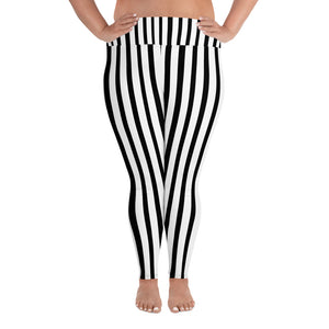 White and Black Vertical Stripe Print Women's Plus Size Leggings- Made in USA-Women's Plus Size Leggings-2XL-Heidi Kimura Art LLC