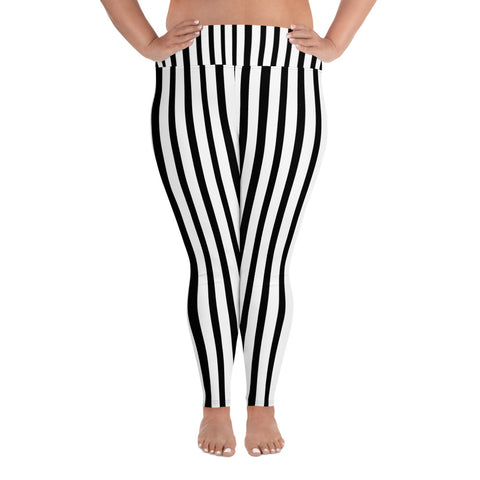 Kazue White and Black Vertical Stripe Print Women's Plus Size Leggings- Made in USA (US Size: 2XL-6XL)