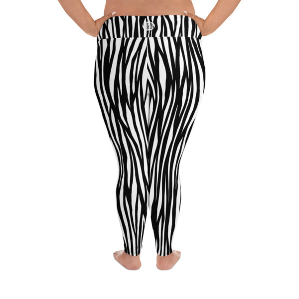 Zebra Animal Print Women's Long Yoga Pants 4-Way Stretch Plus Size Leggings-Women's Plus Size Leggings-Heidi Kimura Art LLC Zebra Plus Size Leggings, Zebra Animal Print Women's Long Yoga Pants High Waist 4-Way Stretch Plus Size Leggings - Made in USA/EU (US Size: 2XL-6XL)
