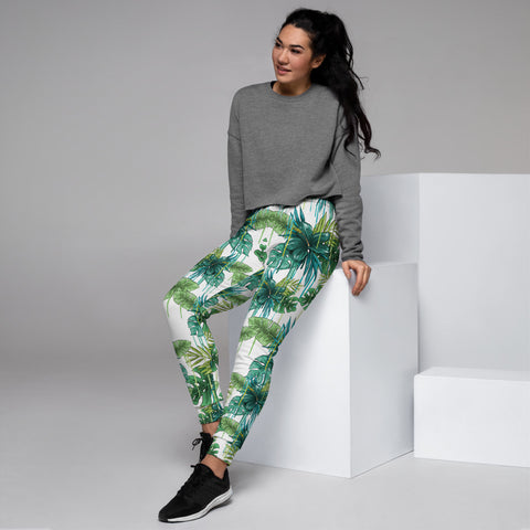Green Tropical Women's Joggers, White Blue Tropical Leaf Print Slim Fit Soft Women's Joggers Sweatpants -Made in EU (US Size: XS-3XL) Plus Size Available, Women's Joggers, Soft Joggers Pants Womens, Women's Long Joggers, Women's Soft Joggers, Lightweight Jogger Pants Women's, Women's Athletic Joggers, Women's Jogger Pants