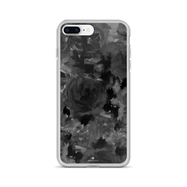 Gray Floral Print iPhone Case, Abstract Rose Floral Print iPhone Cellphone Phone Case-Phone Case-iPhone 7 Plus/8 Plus-Heidi Kimura Art LLC