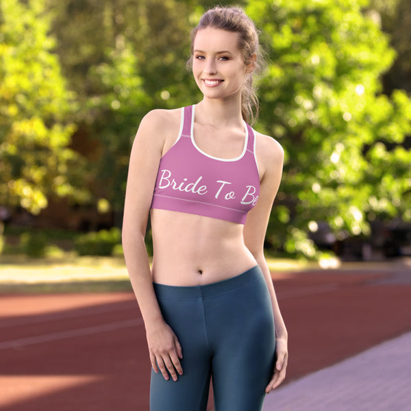 Light Pink Bride To Be Text Women's Premium Workout Sports Bra- Made in USA/ EU-Sports Bras-Heidi Kimura Art LLC Light Pink Bride Sports Bra, Light Pink Bride To Be Text Premium Unpadded Elastic Polyester Spandex Women's Unpadded Gym Workout Sports Fitness Bra For Future Brides - Made in USA/ EU (US Size: XS-2XL)