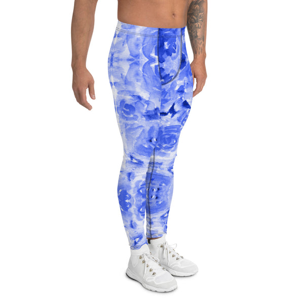 Blue Floral Men's Leggings-Heidikimurart Limited -Heidi Kimura Art LLC