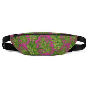 Hot Pink Tropical Leave Print Designer Fanny Pack Over The Shoulder Bag- Made in USA-Fanny Pack-S/M-Heidi Kimura Art LLC