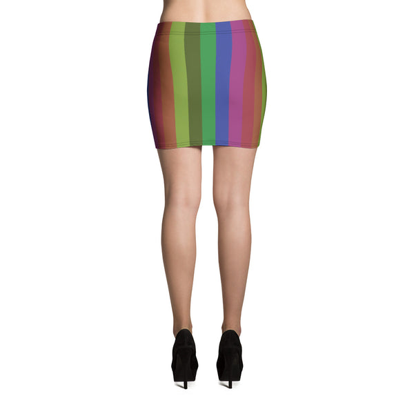 Vintage Style Rainbow Stripe Women's Festival Mini Skirt -Made in USA (US Size: XS-XL)-Mini Skirt-Heidi Kimura Art LLC