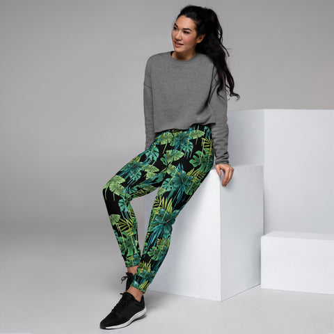 Black Tropical Women's Joggers, Green Tropical Leaf Print Slim Fit Soft Women's Joggers Sweatpants -Made in EU (US Size: XS-3XL) Plus Size Available, Women's Joggers, Soft Joggers Pants Womens, Women's Long Joggers, Women's Soft Joggers, Lightweight Jogger Pants Women's, Women's Athletic Joggers, Women's Jogger Pants
