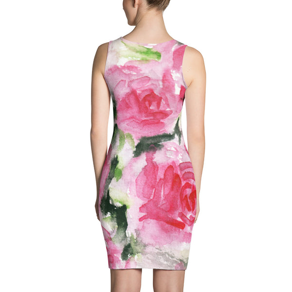 Spring Floral Pink Abstract Rose Print Long Sleeveless Women's Dress - Made in USA/EU-Women's Sleeveless Dress-Heidi Kimura Art LLC
