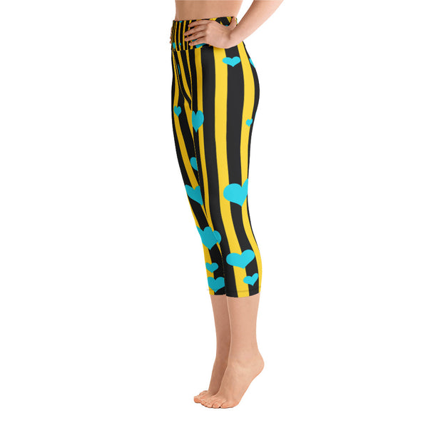 Black Yellow Striped Yoga Capri Pants, Women's Capris Leggings w/ Pockets -Made In USA-Capri Yoga Pants-Heidi Kimura Art LLC