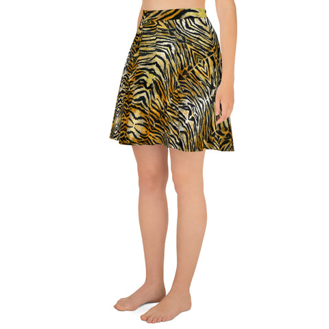 Orange Tiger Striped Skater Skirt, Best Tiger Animal Print Print A-Line Tennis Skirt, High-Waisted Mid-Thigh Women's Skater Skirt, Plus Size Available - Made in USA/EU (US Size: XS-3XL) Animal Print skirt, Tiger Print Skater Skirt, Tiger Skater Skirt