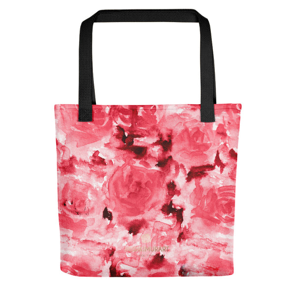 Daichi Crimson Red Rose Floral Designer AOP Tote Bag - Made in USA