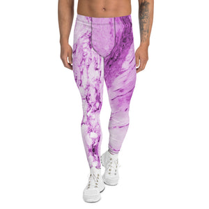 Pink Purple Marble Print Meggings, Abstract Designer Men's Leggings-Heidi Kimura Art LLC-XS-Heidi Kimura Art LLC Pink Purple Marble Print Meggings, Designer Abstract Premium Sexy Meggings Men's Workout Gym Tights Leggings, Men's Compression Tights Pants - Made in USA/ EU (US Size: XS-3XL)