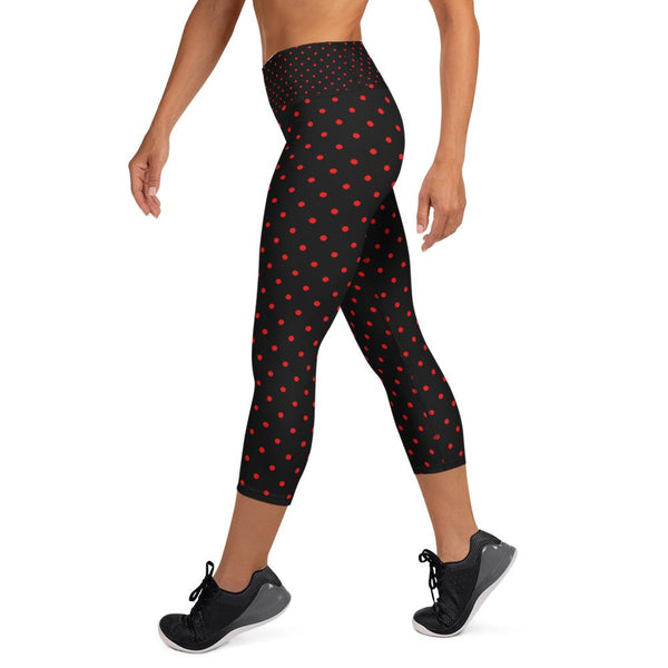 Red Polka Dots Women's Capri Leggings, Black Dots Print Capris Pants- Made in USA/EU-Capri Yoga Pants-Heidi Kimura Art LLC