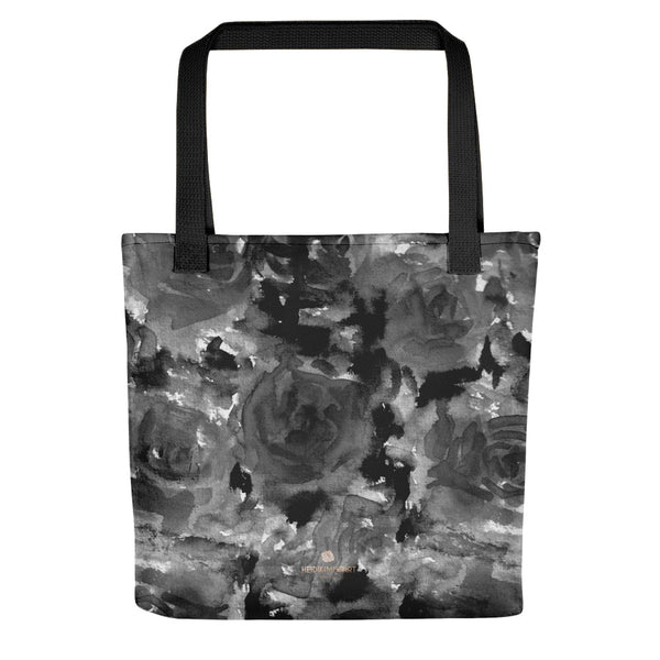 Daisuke Ash Gray Black Ink Floral Rose Designer AOP Tote Bag - Made in USA
