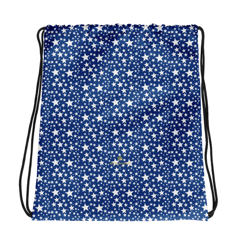 "Blue White Star Print Pattern Designer 15""x17"" Best Premium Drawstring Bag- Made in USA/EU-Drawstring Bag-Heidi Kimura Art LLC Blue White Star Drawstring Bag, Blue White Star Pattern White Print Women's 15""x17"" Best Designer Premium Quality Best Drawstring Bag-Made in USA/Europe"
