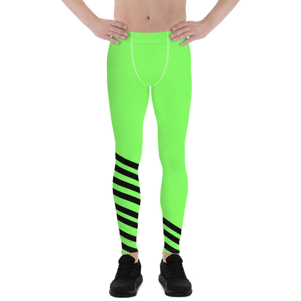 Bright Green Striped Meggings, Bright Green Neon Black Diagonal Stripe Print Men's Running Leggings & Run Tights Meggings Activewear, Compression Men's Sports Tights- Made in USA/ Europe (US Size: XS-3XL) Neon Green Mens Tights, Tights & Leggings, Neon Green Mens Performance Tights Leggings, Men's Workout Leggings & Tights, Gym Clothes & Sportswear For Men, Mens Green Compression Tights, Green Running Tights Mens, Mens Green Tights, Mens Tights, Green Tights, Green Running Tights Womens, Mens Gym Leggings