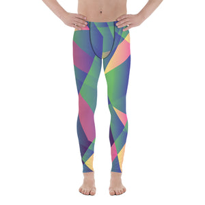 Sparkling Blue Diamond Print Compression Men's Leggings Activewear Tights - Made in USA/EU-Men's Leggings-XS-Heidi Kimura Art LLC