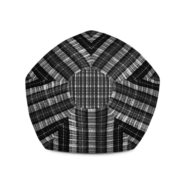 Black White Plaid Tartan Print Water Resistant Polyester Bean Sofa Bag - Made in Europe-Bean Bag-Heidi Kimura Art LLC
